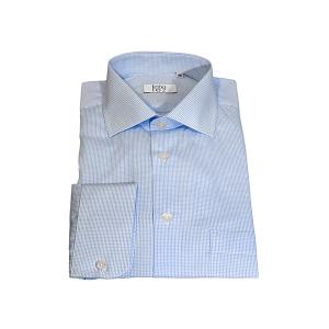 Camisa Clássica Popeline Quadrados Azul Claro