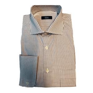 Camisa Clássica Popeline Quadrados Bordeaux