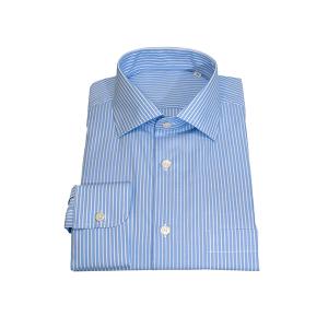 Camisa Clássica Popeline Riscas Azul