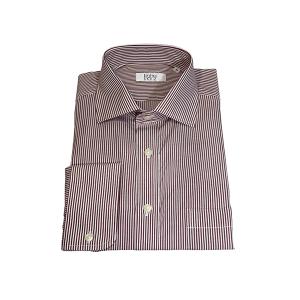 Camisa Clássica Popeline Riscas Bordeaux